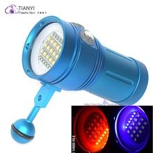 Professional Diving Light 15 XML2+6 Red+6 UV LED Photography Video Dive Flashlight Lamp Underwater 100m Scuba Video Light