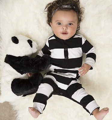 fd19c2d9eb831 Lovely Infants Baby Girls Boys Clothes Long Sleeve Rompers White Black  Striped Bebes Clothes Outfits 0 3Y-in Rompers from Mother   Kids on  Aliexpress.com ...