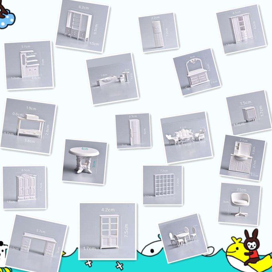 Cateleya 18 pièces bricolage logement modèle matériel profil unité mini meubles de salle à manger chaise de table 1/25