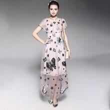dress Dresses Womens Clothing New mesh embroidered ruffled waist summer