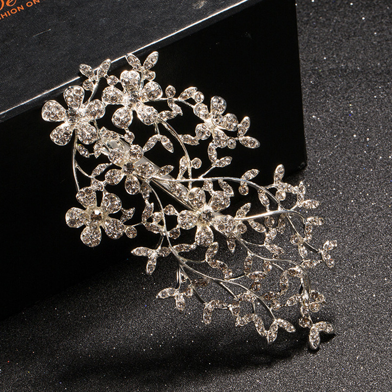 Sparkling Rhinestone Crystal Flower Headpiece Bridesmaid Bridal Tiara Headwear Veil Jewelry Wedding Hair Accessories
