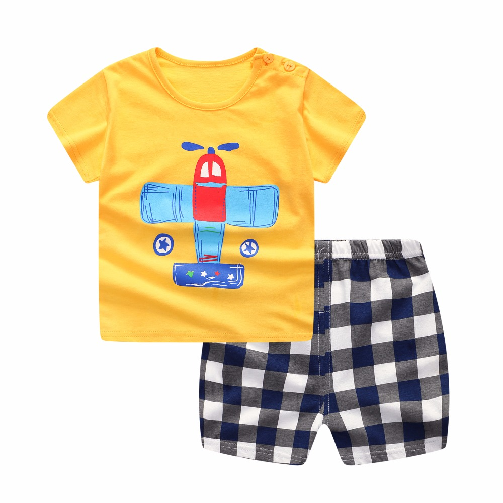 Baby Boy Clothes Summer Cartoon Aircraft Baby Boy Girl Clothing Set Cotton Baby Clothes Suits Short Plaid Infant Kids Clothes 2pcs set cotton baby summer shorts suits infant baby clothing sets baby boy girl short sleeve clothes suit newborn clothing set