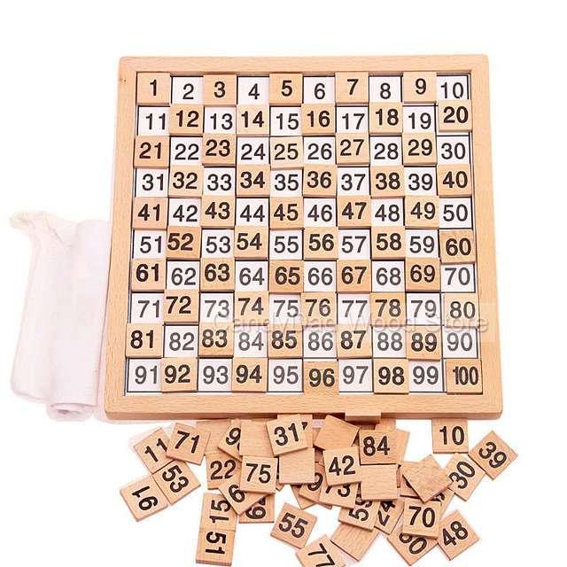 Educação Montessori Brinquedos De Madeira 1-100 Números Consecutivos Contando Tabuleiro Crianças Matemática Ensino Brinquedo Aprendizagem Precoce Presente