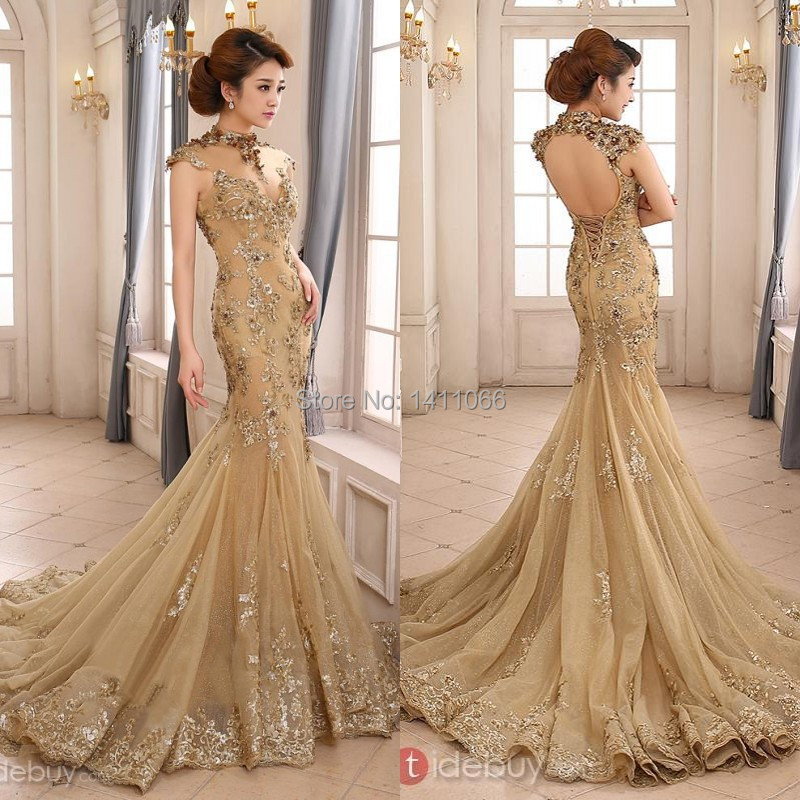 2014 luxury gold mermaid wedding dress high neck sheer illusion beaded applique sweep train backless bridal