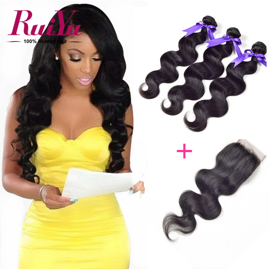 "Brazilian Virgin Hair With Closure 3 Bundles Brazilian Body Wave With Closure 8""-24"" 4X4 Lace Closure Human Hair Weave Bundles"