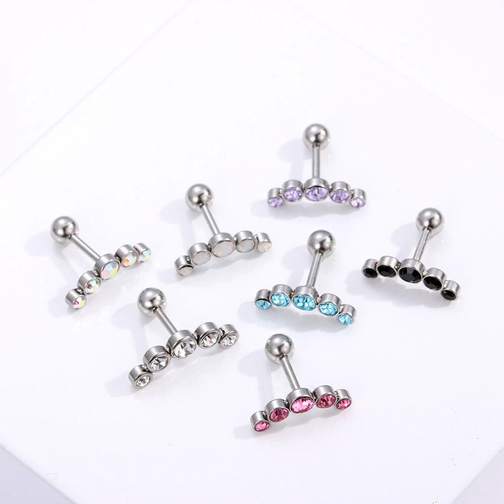 2 Pcs Surgical Steel Cz Labret Lip Ring Piercing Jewelry Tragus Nail Lip Stud JB