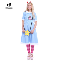 ROLECOS Anime Star Vs The Forces Of Evil Women Cosplay Costumes Color Blue Star Butterfly Dress