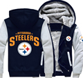 Free Shipping USA size Men Women Steelers Foot Ball Team Thicken Hoodie Zipper Coat Clothing Jacket