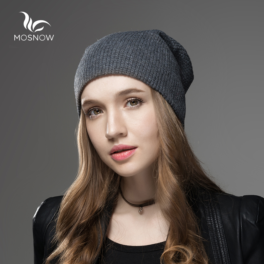 Mosnow New 2018 Wool Winter Hat Grid Pattern Men Women High Quality Casual Knitted Warm Vogue Hat Female   Skullies     Beanies   Cap