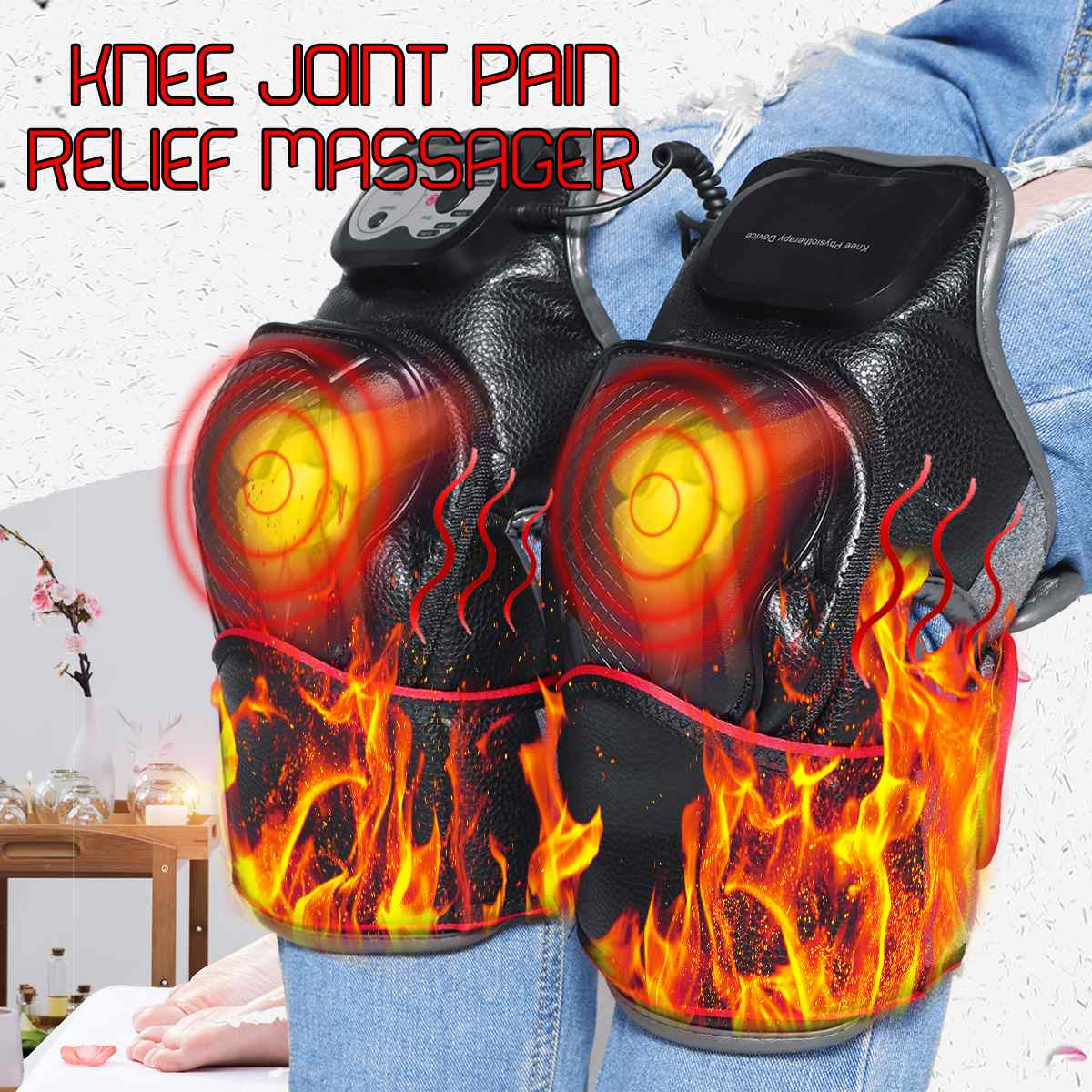 Infrared Heated Adult Knee Massager Rehabilitation Magnetic Vibration Heating Joint Physiotherapy Electric Massage Pain ReliefInfrared Heated Adult Knee Massager Rehabilitation Magnetic Vibration Heating Joint Physiotherapy Electric Massage Pain Relief