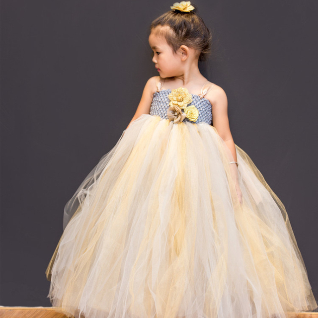 Boutique Gold Flowers Girl Princess Dress Long Girls Dresses For