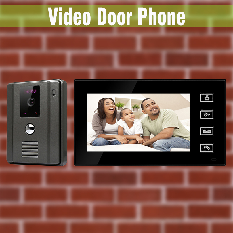 7 Inch Video Door Phone Intercom Doorbell Doorphone System video interphone visual intercom Kit night vision Camera lcd wired video security doorphone camera tft screen video interphone infrared night vision doorbell intercom