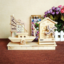 Happy to you Children Room Decorative Wooden Music Box Cute Bunny and Bear Windmill Musical Box Toy Birthday Gifts