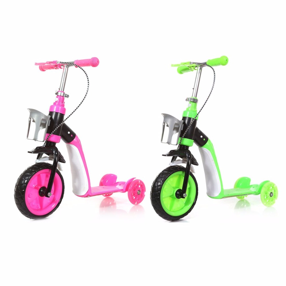 Children Scooter Three Wheels Slide Two In One Child Sliding Vehicle With Bottle Holder Adjustable Height Large Front Tyre Hot three wheel with two seater twin dolls kang pedal three wheeled cart with awning four in one function