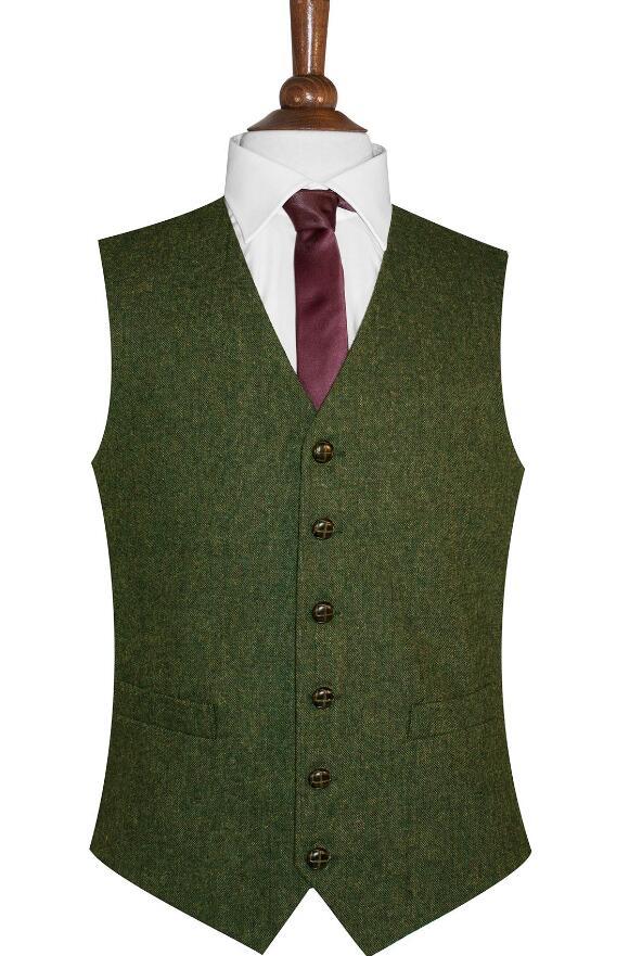 Зеленый мужской шерстяной твидовый жилет жениха Жилеты мужские в английском стиле костюмные жилеты Slim Fit Мужской жилет с капюшоном свадебный жилет - Цвет: only one vest
