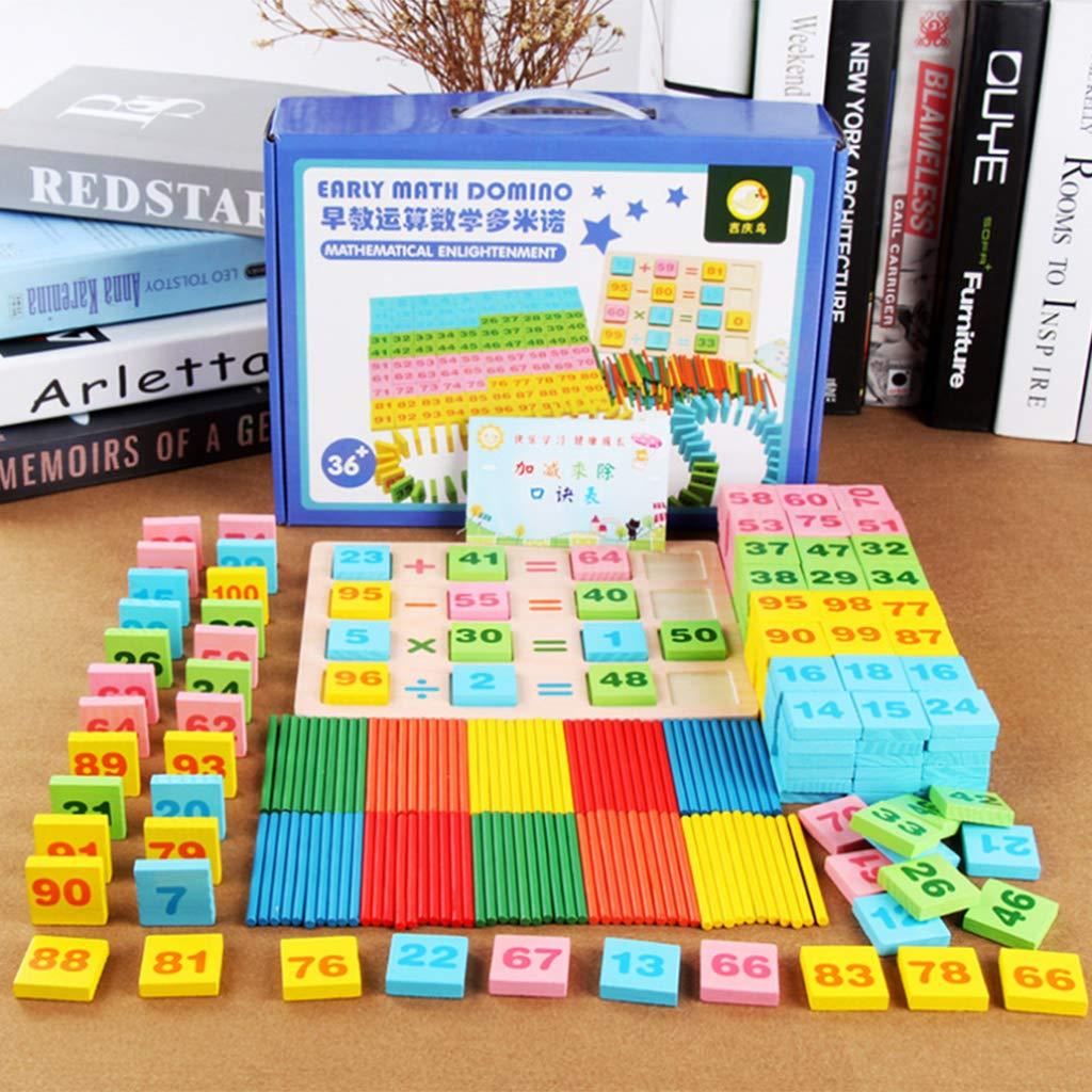 100 pièces Bâtonnets + 200 pièces Nombre Cartes Domino En Bois Mathématiques Apprentissage Précoce Jouets Éducatifs Cadeau pour Enfants Enfant En Bas Âge Enfants