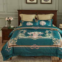 luxury 1000TC Egyptian cotton Bedding Sets Queen King Size green flower comforter/quilt cover Bed Sheets 4pcs bohemia bedspreads
