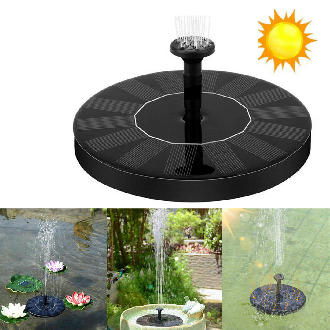 Round Solar Panel Power Fountain Floating Garden Pool Pond Aquarium Water Pump