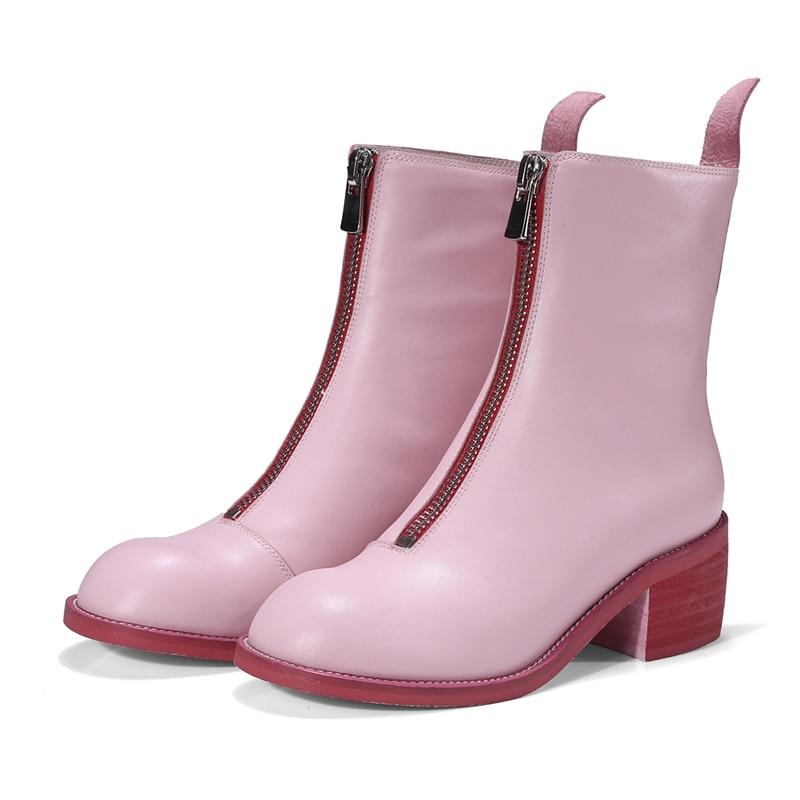 Véritable Dame Bottes pink Printemps Femmes Top Rond Qualité Zip Bottines Cuir Enmayer Black En Bout Zyl293 Vache De Moto 35qcARL4j
