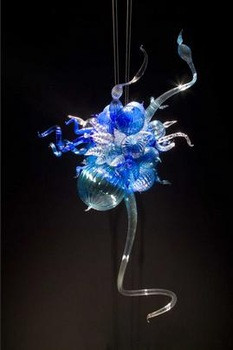 Mini lustre en verre soufflé bleu artistique pas cher