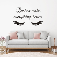 Beauty Salon Quote Wall Sticker Long Eyelashes Vinyl Decals Eyebrows Brows Art Mural Home Decor SL024