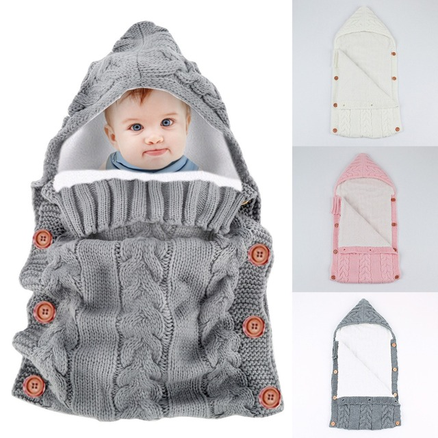 Winter Warm Baby Blankets Button Knitted Crochet Hooded Sweater