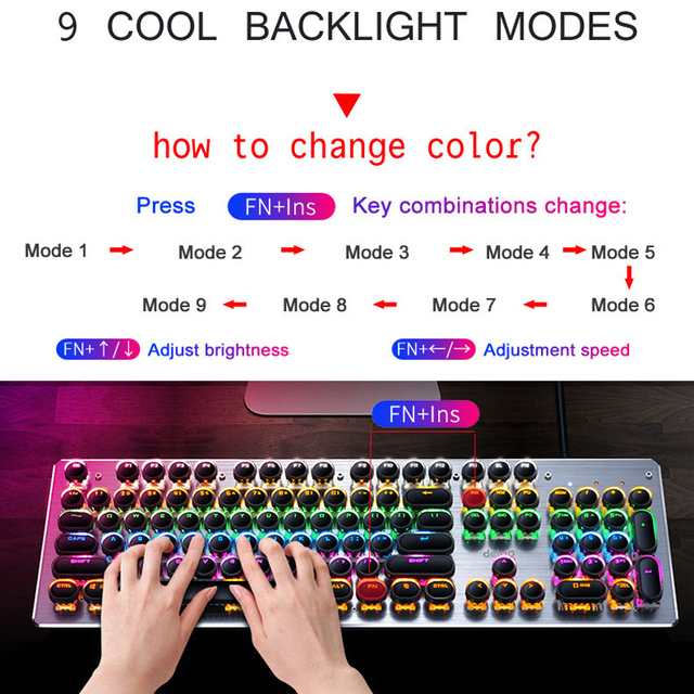 New Mechanical Keyboard USB Wired Anti-ghosting Blue Switch Metal Panel Colorful Gaming Backlit Keyboard 5