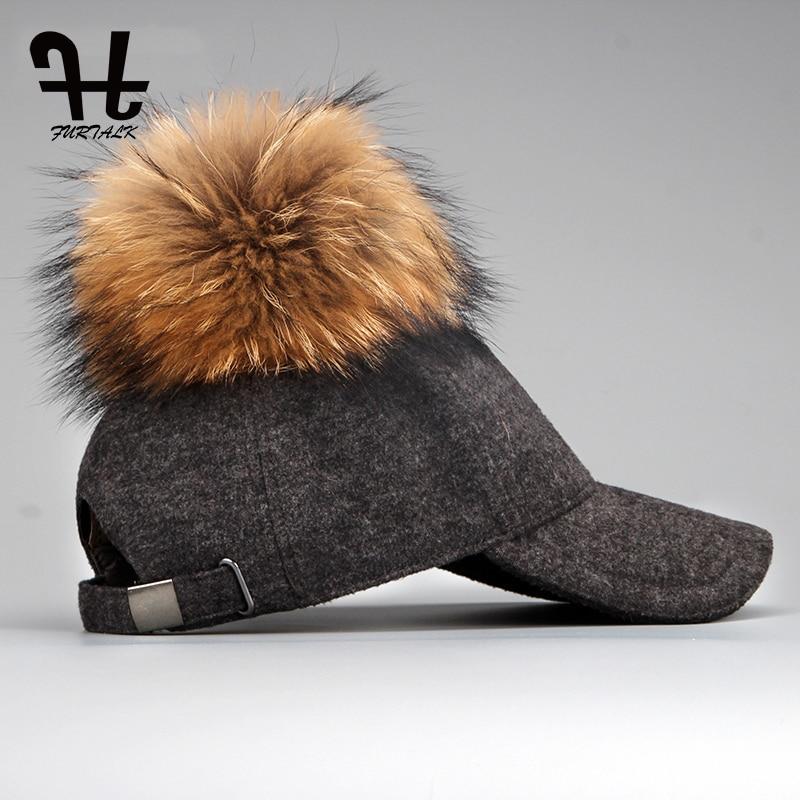 FURTALK fur snapback wool   baseball     cap   big pom pom hat spring winter   cap     Baseball   Hat Adjustable hip hop   cap