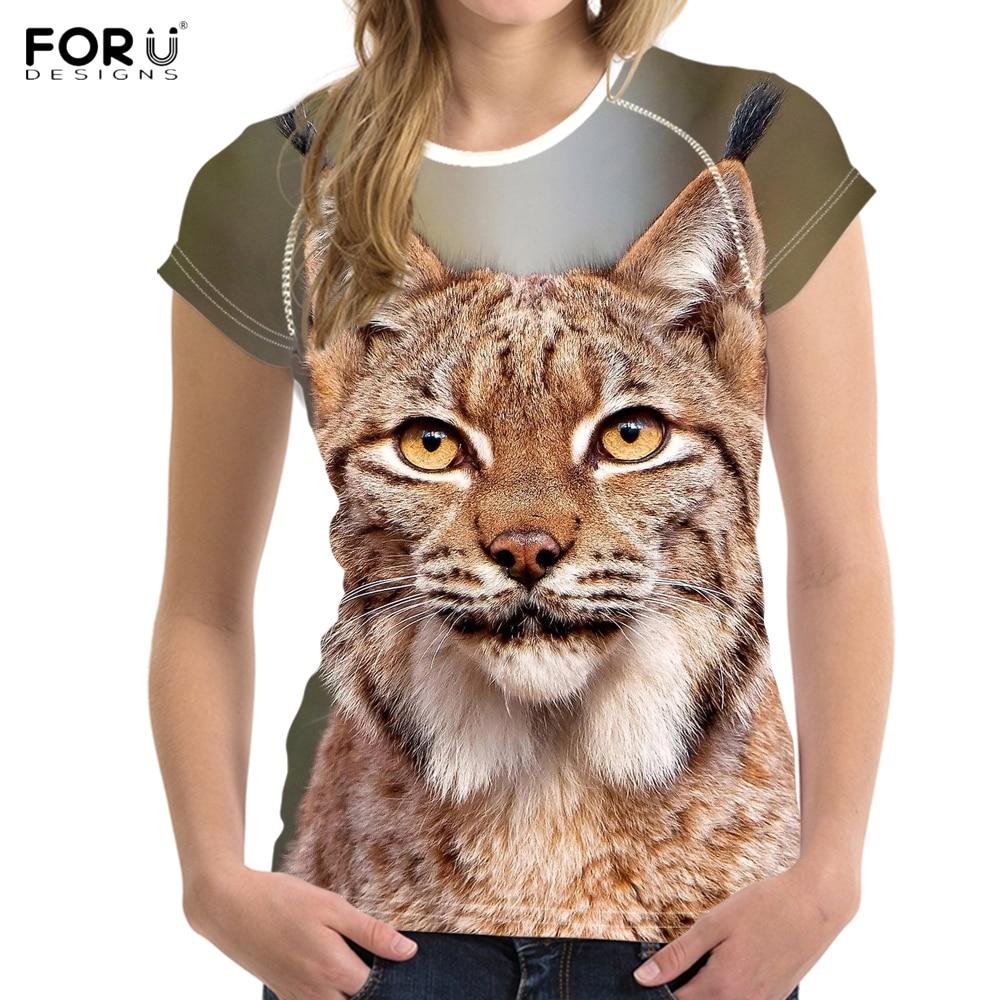 Heb Een Onderzoekende Geest Forudesigns Leuke 3d Dier Bobcat Print Vrouwen Zomer T Shirts Mode Korte Mouw Top Tees Kleding Harajuku Tiener Meisjes T-shirt