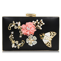 Clutches Flowers Butterfly Women Clutch Evening Bags Beads Embroidered Shoulder Bags Women Messenger Bags Ladies Evening