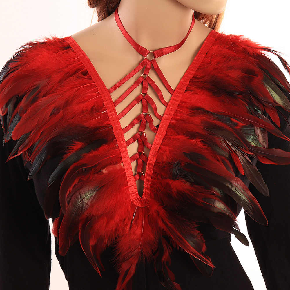 Feather Angel Wings For Women Burning Man Adjust  chest Body Harness Cage sexy red Wedding bra Party Dance Rave Wear Halloween