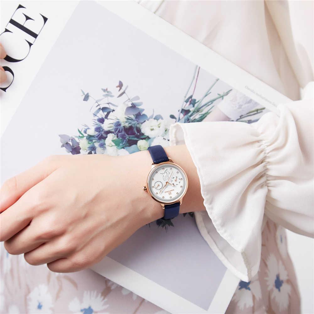 NAVIFORCE женские модные кварцевые часы женские кожаные ремешок для часов Дата Неделя повседневные водонепроницаемые наручные часы подарок для девочки 2019 новый синий