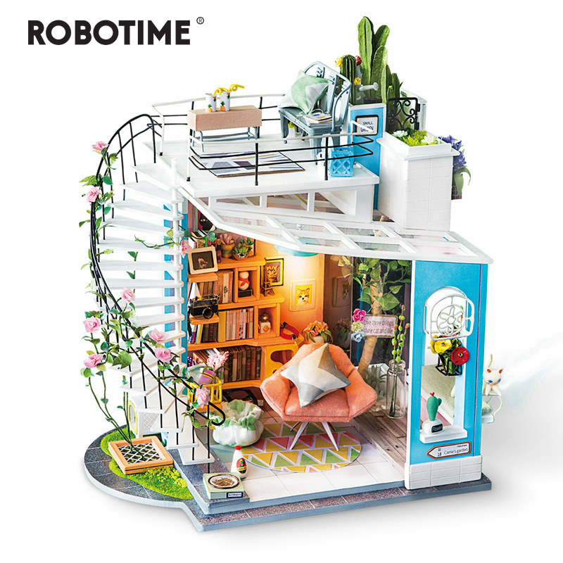 Robotime New DIY Dora s Loft with Furniture Children Adult Miniature Wooden Doll House Model Building