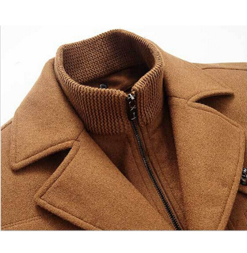 Winter Wool Coat Ανδρικά Slim Fit Μπουφάν Mens Μόδα - Ανδρικός ρουχισμός - Φωτογραφία 5