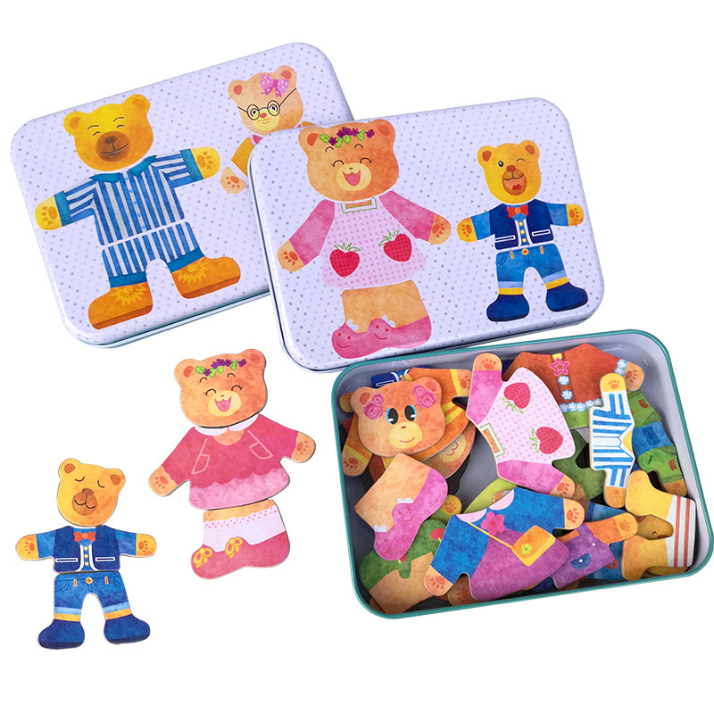 2 styles Magnetic Bear Family Dress Jigsaw Puzzle Wooden Puzzles Tin Box Educational Toy for Children wooden toys ship random children s early childhood educational toys the bear change clothes play toys creative wooden jigsaw puzzle girls toys
