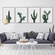 Nordic Watercolor Green Plant Cactus Wall Art Canvas Painting Pastoral Picture No Frame For Living Room Home Decor Poster