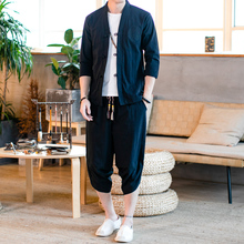 Loldeal Mens Cotton and Linen Suit Summer New Solid Color Cardigan Long-sleeved Shirt Retro Trend Casual Pants