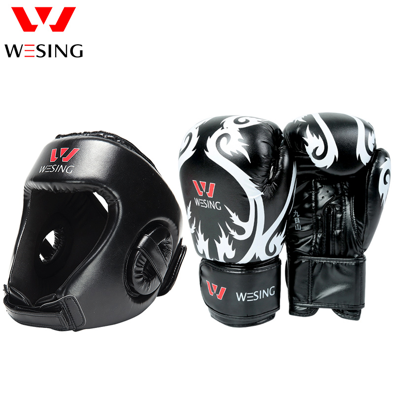 Wesing Boxing gloves and head kick boxing equipment for training wesing aiba approved boxing gloves 12oz competition mma training muay thai kickboxing sanda boxer gloves red blue