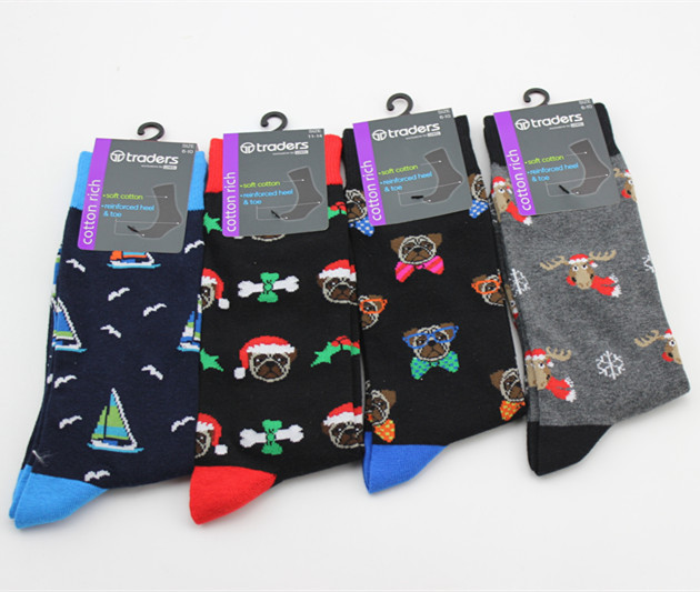 European style Cartoon pattern   socks   personality Christmas series happy men's   sock   Fashion casual calcetines hombre divertidos