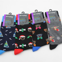 European style Cartoon pattern socks personality Christmas series happy men's so