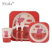 5pcs/set Bamboo Firber Peppa pig children kids dinnerware set pink gift