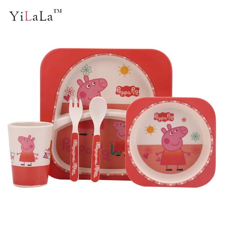 5pcs/set Bamboo Firber Peppa pig children kids dinnerware set pink gift -in Dishes u0026 Plates from Home u0026 Garden on Aliexpress.com | Alibaba Group  sc 1 st  AliExpress.com & 5pcs/set Bamboo Firber Peppa pig children kids dinnerware set pink ...