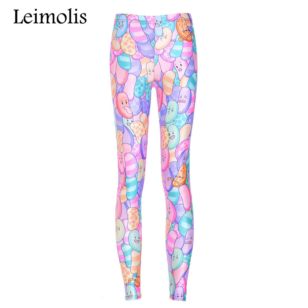 Leimolis 3D Printed Fitness Push Up Workout Leggings Women Gothic Candy Bean Plus Size High Waist Punk Rock Pants