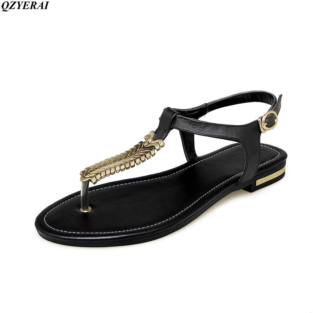 QZYERAI 2018 nuovo arrivo delle donne sexy sandali 100% pelle bovina confortevole pezzi di metallo scarpe da donna di un parola sandali formato 34-43