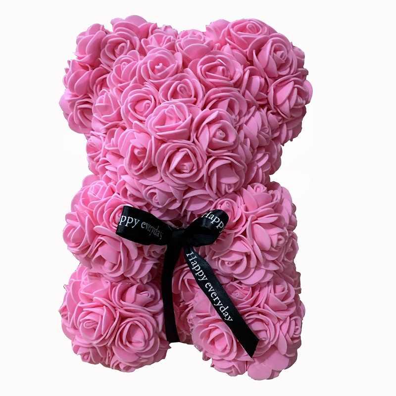 Rosa Orso Bambole Multicolore Sapone Artifdicial della Gomma Piuma della Rosa Fiore di Peluche Orso di San Valentino Regalo di Giorno Di Compleanno Del Partito di Primavera Decorazione