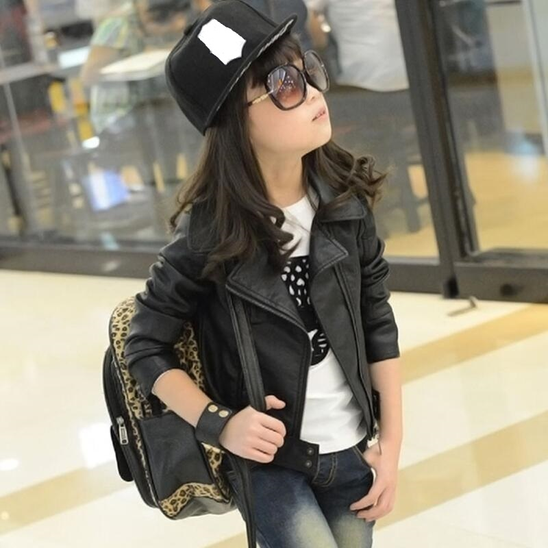 Kids Jackets Girls Designer/'s PU Leather Silver Jacket Zip Up Biker Coats 5-13Yr