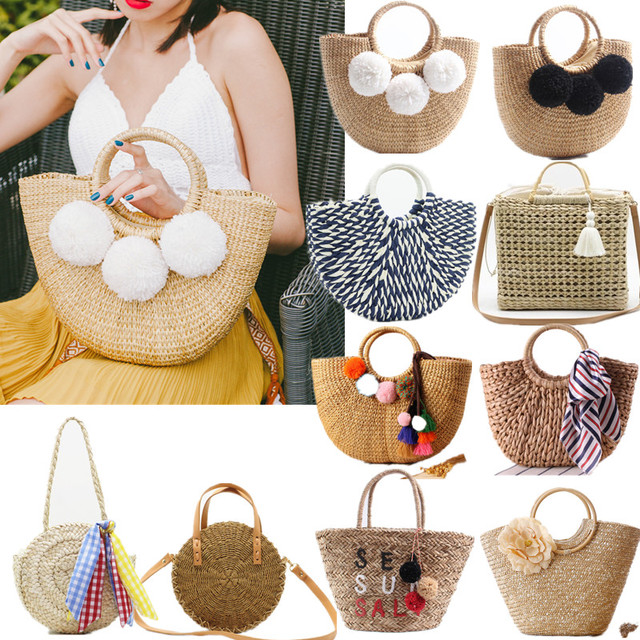 2019 New Women Straw Handbag Vacation Handmade Beach Woven Bag Hair Ball Tassel Semi-circular Tote Bag Seaside Tourism Holiday