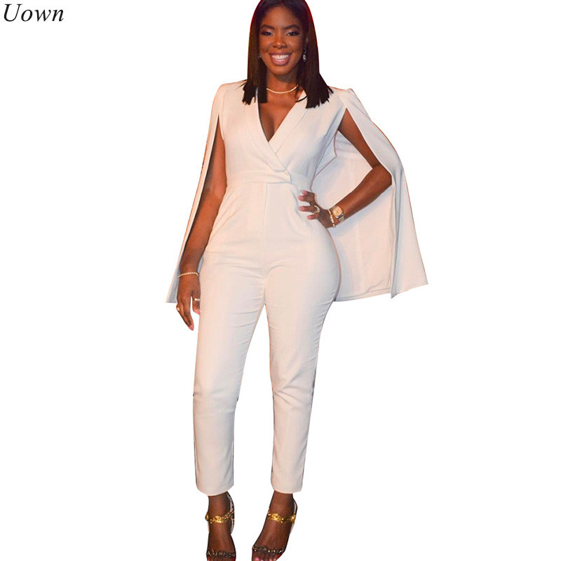 ee950aeb7bf4 Detail Feedback Questions about Doyerl Fashion Vintage Cloak One Piece  Jumpsuit Sleeveless V Neck Bodysuit White Blazer Rompers Women Overalls  Elegant ...