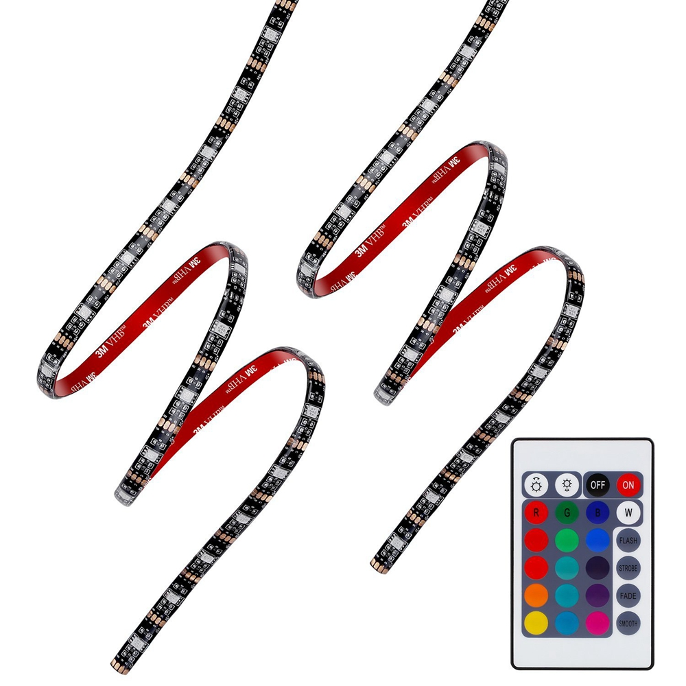 USB 5V 5050 RGB Strip light 60led 1m 2m mini IR 24key RF 17key controller black PCB IP65 waterproof RGB flexible light Adhesive