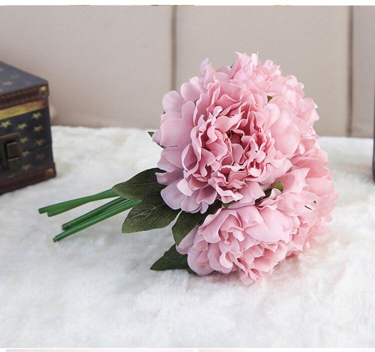 F021 Silk flower wedding bouquet Artificial Poeny wedding flower ...